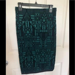 Moon teal green black fitted pencil skirt lined M